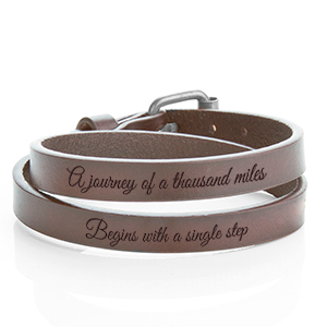 Buckle Up Silver & Brown Wrap Personalized Leather Bracelet LG