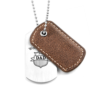 Cocoa Brown Leather Stainless Custom Dog Tag Necklace