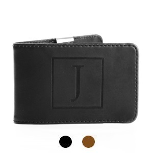 Scout Engraved Initial Mens Genuine Leather Money Clip Wallet