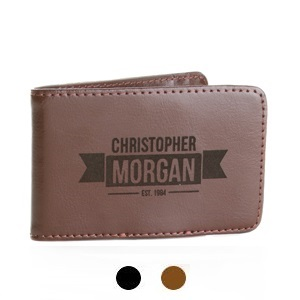 Ranger Personalized Genuine Leather Money Clip Wallet for Men
