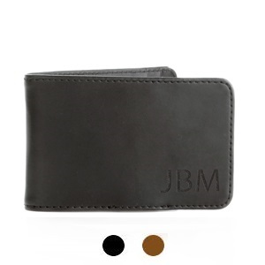 Hunter Monogrammed Mens Genuine Leather Money Clip Wallet