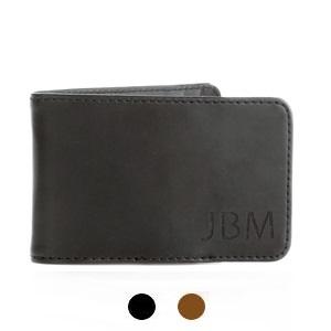 Hunter Monogrammed Mens Genuine Leather Money Clip Wallet