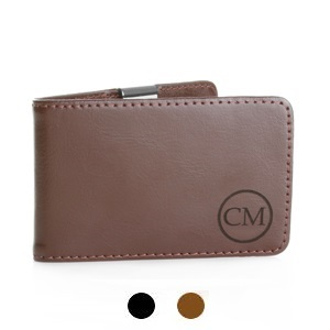Archer Monogrammed Genuine Leather Money Clip Wallet for Men