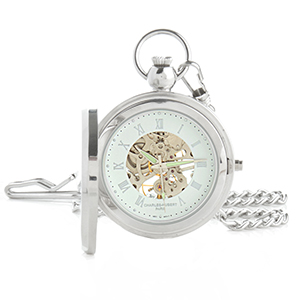 Charles-Hubert Photo Insert Skeleton Engraved Pocket Watch