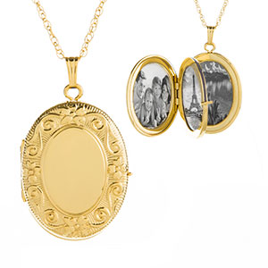 14K Gold Filled 4 Photo Ornate Personalized Locket Necklace