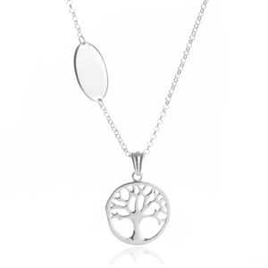 Silver Tree of Life Engraved Necklace