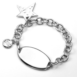 Hammered Star Engravable Charm Bracelet