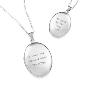 Claudias Silver Personalized Locket Handwriting Necklace