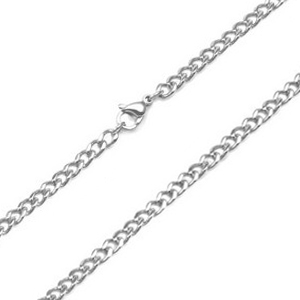 4mm Curb Link Stainless Steel Chain 24 - 28 Inch