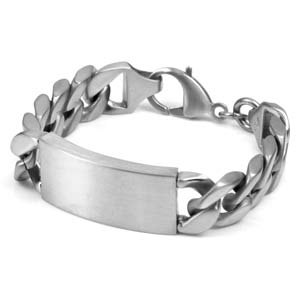 Large Link Engraved Silver ID Bracelet 7 1/2 Inch