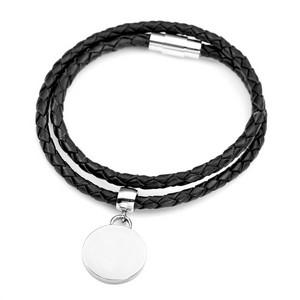 Engraved Black Braided Leather Wrap Charm Bracelet