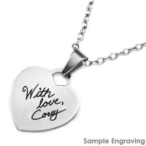 Engraved Handwriting Jewelry Heart Pendant