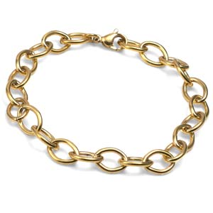 Gold Plated Stainless Bracelet for Charms 7 1/2 Inch