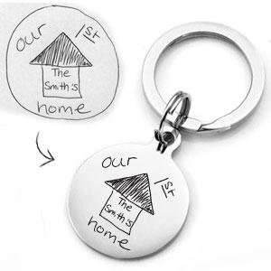 Round Steel Handwriting Gifts Keychain