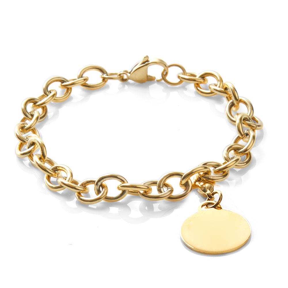 Bold Gold Link Engravable Bracelets for Her
