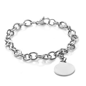 Custom Engraved Silver Cable Link Charm Bracelet