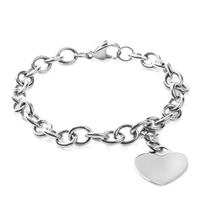 Your Personalized Silver Cable Link Heart Charm Bracelet