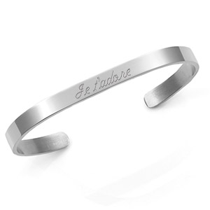 Engraved Rhodium Cuff Bracelet 5.5mm Medium