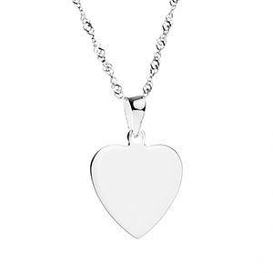 Custom Engraved Silver Heart Pendant