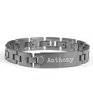 Deep Charcoal Mens Engraved Bracelets