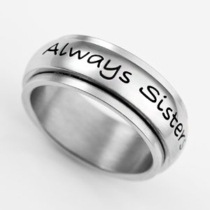 Always Sisters Forever Friends Stainless Spin Ring Size 10