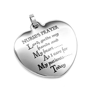 Nurse's Prayer Heart Personalized Pendant