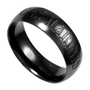 U.S. Marines Black Steel Custom Rings Size 13