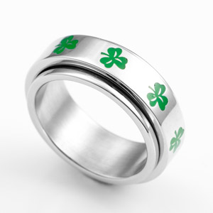 Shamrock 7mm Stainless Steel Spinner Ring Size 11
