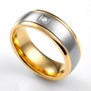 Gray Band & Crystal 7mm Gold Plated Stainless Ring Size 13