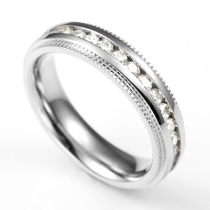 Stainless Steel & Crystal Band Personalized Rings