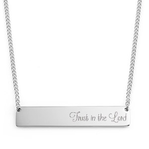 Personalized Silver Handwriting Bar Necklace