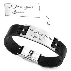 Custom Leather Handwriting Bracelets