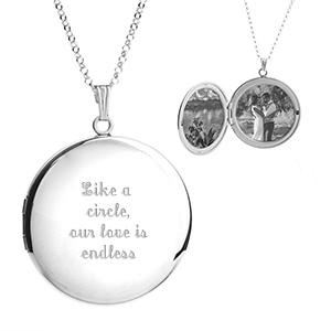 Ellen Silver Engraved Locket Necklace