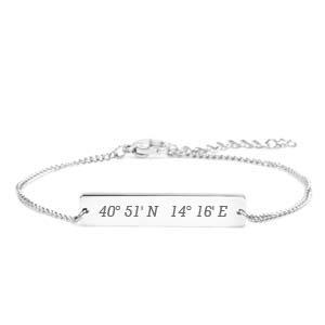 Engraved Coordinates Silver Bar Bracelet