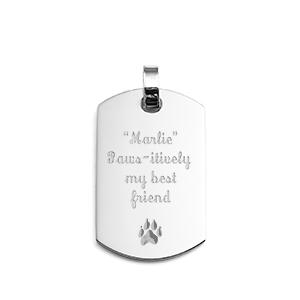 Engraved Dog Tag Pendant Stainless Steel