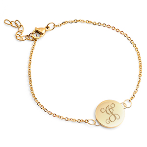 Engraved Gold Bracelet with Dainty Round Charm