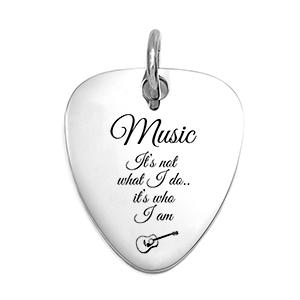 Engraved Guitar Pick Pendant