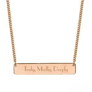 Minimalist Jewelry- Engraved Rose Gold Bar Necklace