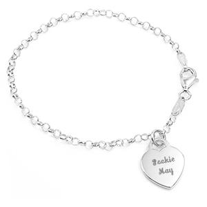 Engraved Girls Silver Heart Charm Bracelet