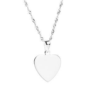 Engraved Silver Heart Pendant Necklace