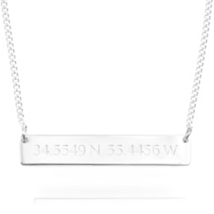 Engraved Silver Latitude Longitude Necklace