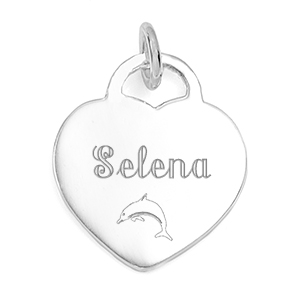 Engraved Sterling Silver Heart Charm or Pendant