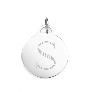 Engraved Sterling Silver Charm or Pendant 3/4 inch