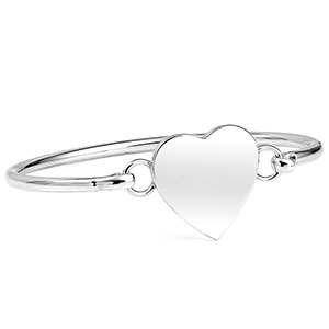 Engraved Sterling Silver Heart Bangle