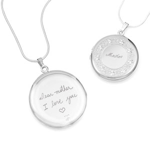 Etched Border Silver Personalized Locket Handwriting Necklace