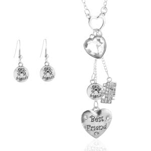 Best Friends Heart Necklace & Matching Earring Set