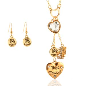 Best Friends are Golden Fashion Necklace & Earrings Set