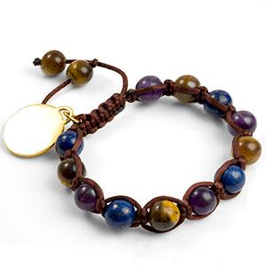 Galen Macrame Gemstone Engravable Bracelet