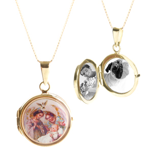 9k Gold Baptism Jewelry Style Engraved Lockets