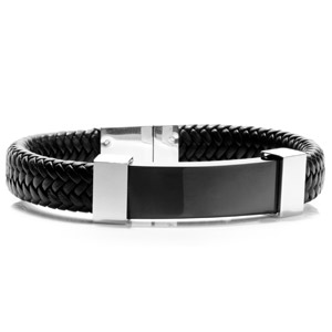 Gerard Black Leather Mens Engraved Bracelets